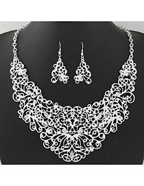 Vintage Silver Color Diamond Decorated Flower Vine Shape Design Hollow Out Jewelry Sets