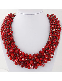 Fashion Red Bead Decorated Hand-woven Pure Color Design Necklace