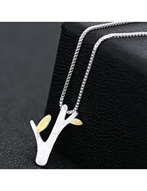 Fashion Silver Color Branch Shape Pendant Decorated Long Chain Simple Necklace