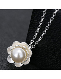 Elegant Silver Color Flower Shape Pendant Decorated Long Chain Simple Necklace