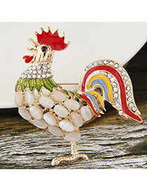 Fashion Red Diamond Decorated Cock Design Simple Brooch