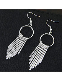 Fashion Silver Color Metal Tassel Decorated Long Chain Simple Earrings