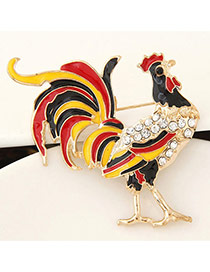 Delicate Mutil-color Diamond Decorated Cock Design Simple Brooch