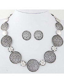 Vintage Silver Color Round Shape Decorated Pure Color Design Jewelry Sets