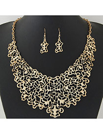 Fashion Gold Color Pure Color Decorated Hollow Out Design Jewelry Sets