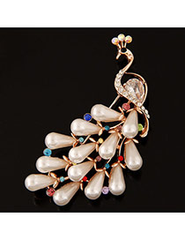 Delicate Multi-colour Waterdrop Shape Decorated Peacock Design Hollow Out Brooch