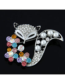 Delicate Multi-colour Round Shape Diamond Decorated Fox Design Simple Brooch
