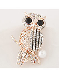 Elegant Gold Color Round Shape Diamond Decorated Owl Design Simple Brooch