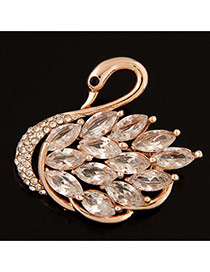 Elegant Gold Color Waterdrop Shape Diamond Decorated Swan Design Brooch