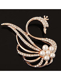 Elegant Gold Color Round Shape Diamond Decorated Swan Design Simple Brooch