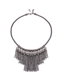 Bohemia Anti-silver Color Chain Tassel Pendant Decorated Simple Necklace