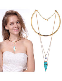 Exaggerated Gold Color+blue Triangle Shape Pendant Decorated Multilayer Necklace