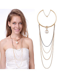 Exaggerated Gold Color Pearl Pendant Decorated Multilayer Necklace