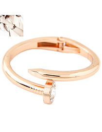 Exaggerated Rose Gold Diamond Decorated Nail Shape Simple Bracelet