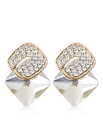 Sweet White Diamond Decorated Three-dimensional Square Gemstone Earring