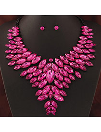 Trendy Plum Red Oval Shape Gemstone Decorated Multi-layer Jewelry Sets