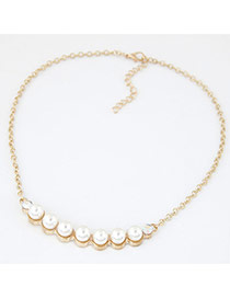 Fashion White+gold Color Pearls Decorated Curve Shape Simple Necklace
