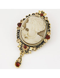 Fashion Gold Color Lady Pattern Decorated Flower Border Design Simple Brooch