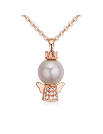 Fashion Rose Gold Pearls&diamonds Decorated Crown Shape Simple Necklace