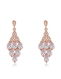 Fashion Rose Gold Water Drop Shape Diamond Decorated Hollow Out Rhombus Shape Earrings