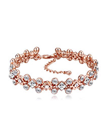 Fashion Rose Gold+white Gemstone Shape Diamond Decorated Simple Bracelets