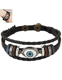 Fashion Black Eye&hollow Out Round Shape Decorated Multi-layer Bracelet