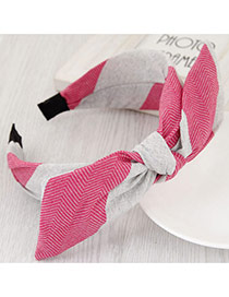 Fashion Pink+gray Color Matching Design Bowknot Shape Simple Hair Clasp