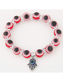 Personlity Red Metal Palm Pendant Decorated Eyes Design Simple Bracelet