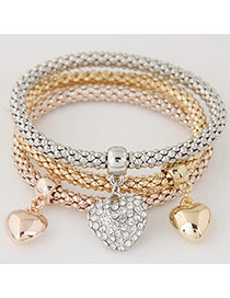 Elegant Muti-color Heart Shape Pendant Decorated Multilayer Bracelet