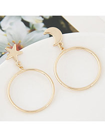Fashion Gold Color Pure Color Decorated Simple Round Shape Earrings