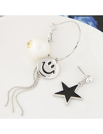 Sweet Silver Color Smiling Face &star Shape Decorated Asymmetry Earrings