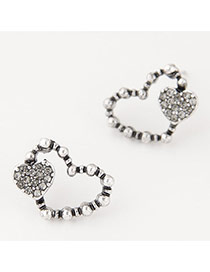 Fashion Silver Color Heart Shape Decorated Simple Hollow Out Earrings