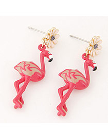 Personlity Red Ostrich Shape &flower Decorated Simpe Earrings