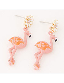 Personlity Pink Ostrich Shape &flower Decorated Simpe Earrings