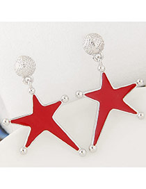 Fashion Red Star Shape Pendant Decorated Simple Earrings