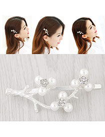 Elegant White Pearl Decorated Branch Design Simple Hair Clip