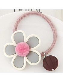 Lovely Pink Fuzzy Ball Decorated Flower Design Hair Hoop