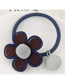 Lovely Gray Fuzzy Ball Decorated Flower Design Hair Hoop