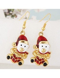 Cute Red Christmas Snowman Shape Pendant Decorated Simple Earring