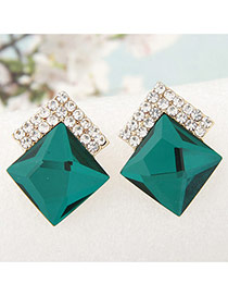 Sweet Green Diamond Decorated Square Shape Earring