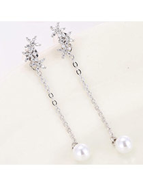 Sweet Silver Color Pearl Pendant Decorated Simple Tassel Earring
