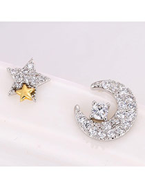Sweet Silver Color Star&moon Shape Decorated Asymmetry Earring