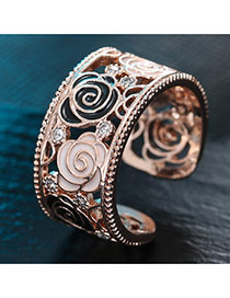 Sweet Rose Gold Flower Shape Decorated Hollow Out Opening Ring