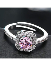 Sweet Pink Diamond Decorated Simple Adjustable Ring