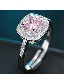 Sweet Pink Square Diamond Decorated Simple Adjustable Ring