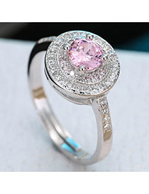 Sweet Pink Round Diamond Decorated Simple Adjustable Ring