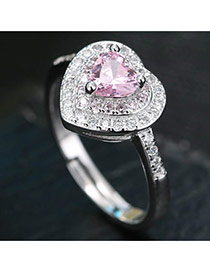 Sweet Pink Heart Shape Daimon Decorated Simple Adjustable Ring