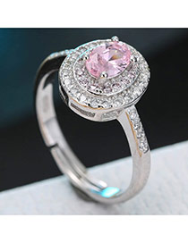 Sweet Pink Oval Diamond Decorated Simple Adjustable Ring