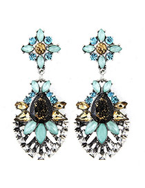 Vintage Light Blue Geometric Diamond Decorated Simple Flower Earring