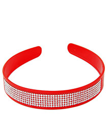 Elegant Red Multilayer Diamond Decorated Pure Color Hair Clasp